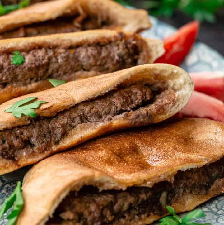 Hawawshi pita sandwiches