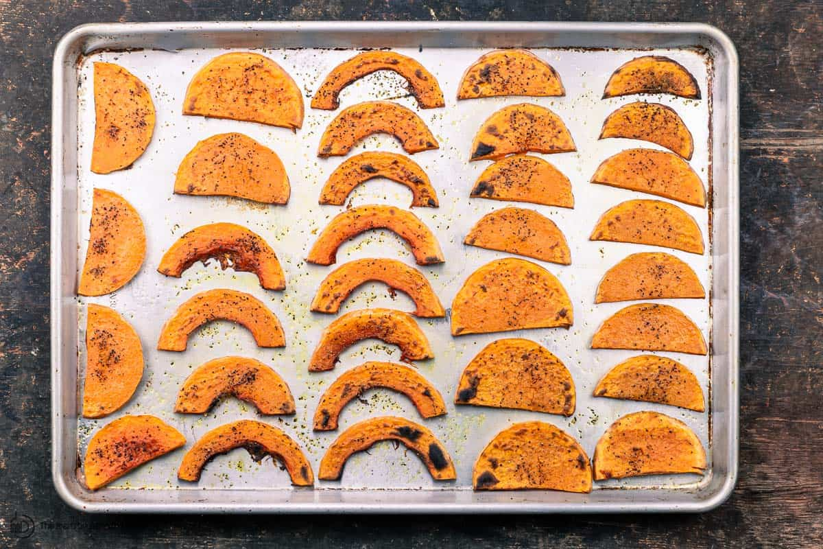 slices of butternut squash roasted and caramlized