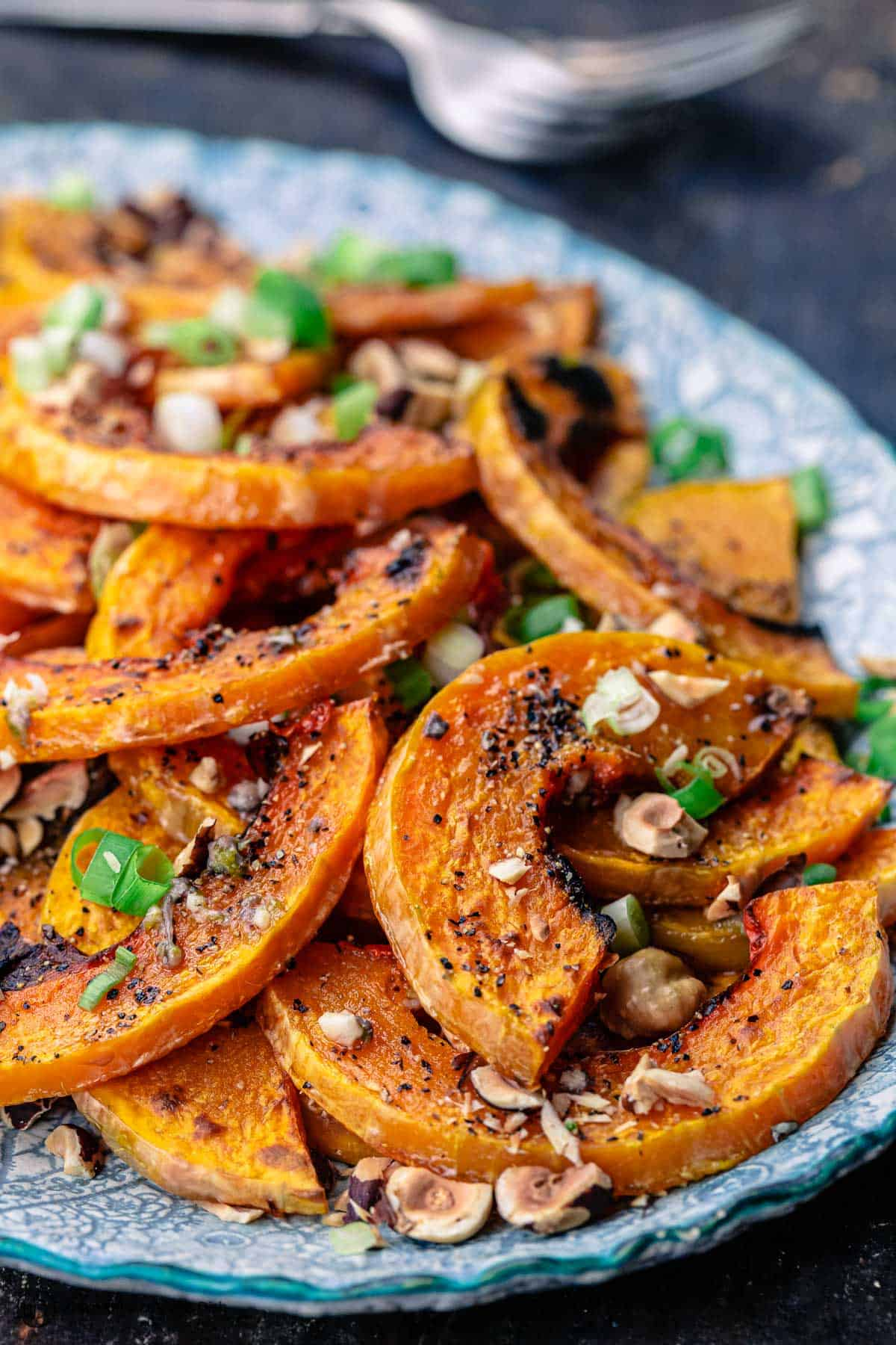 roasted butternut squash slices on a platter