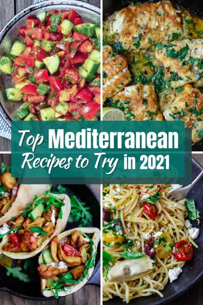a collage of 4 photos representing top Mediterranean recipes to try in 2021