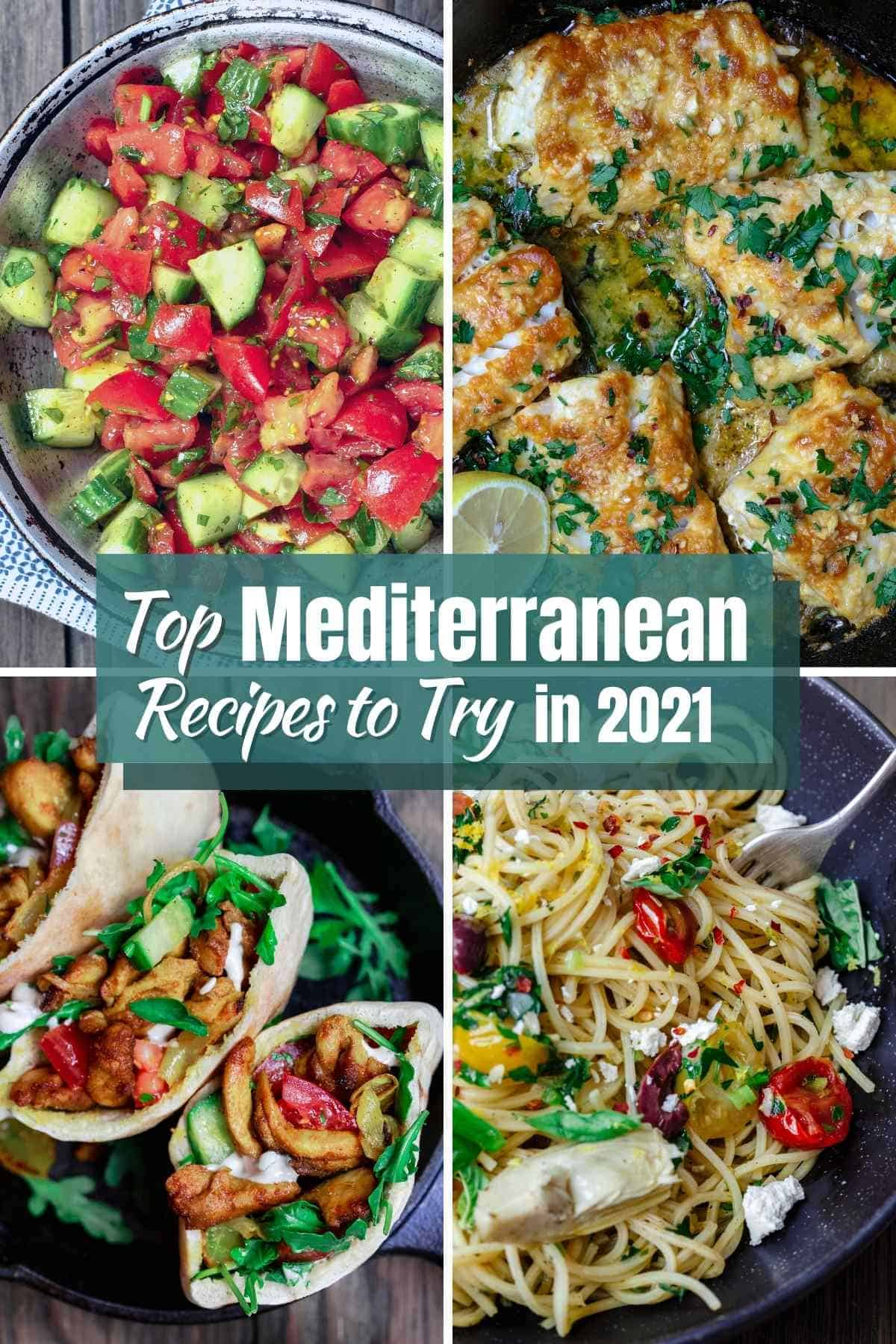 collage of top Mediterranean diet recipes to try in 2021