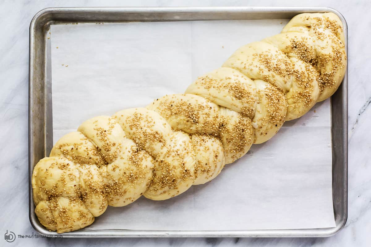 Braided and seasoned dough for challah bread
