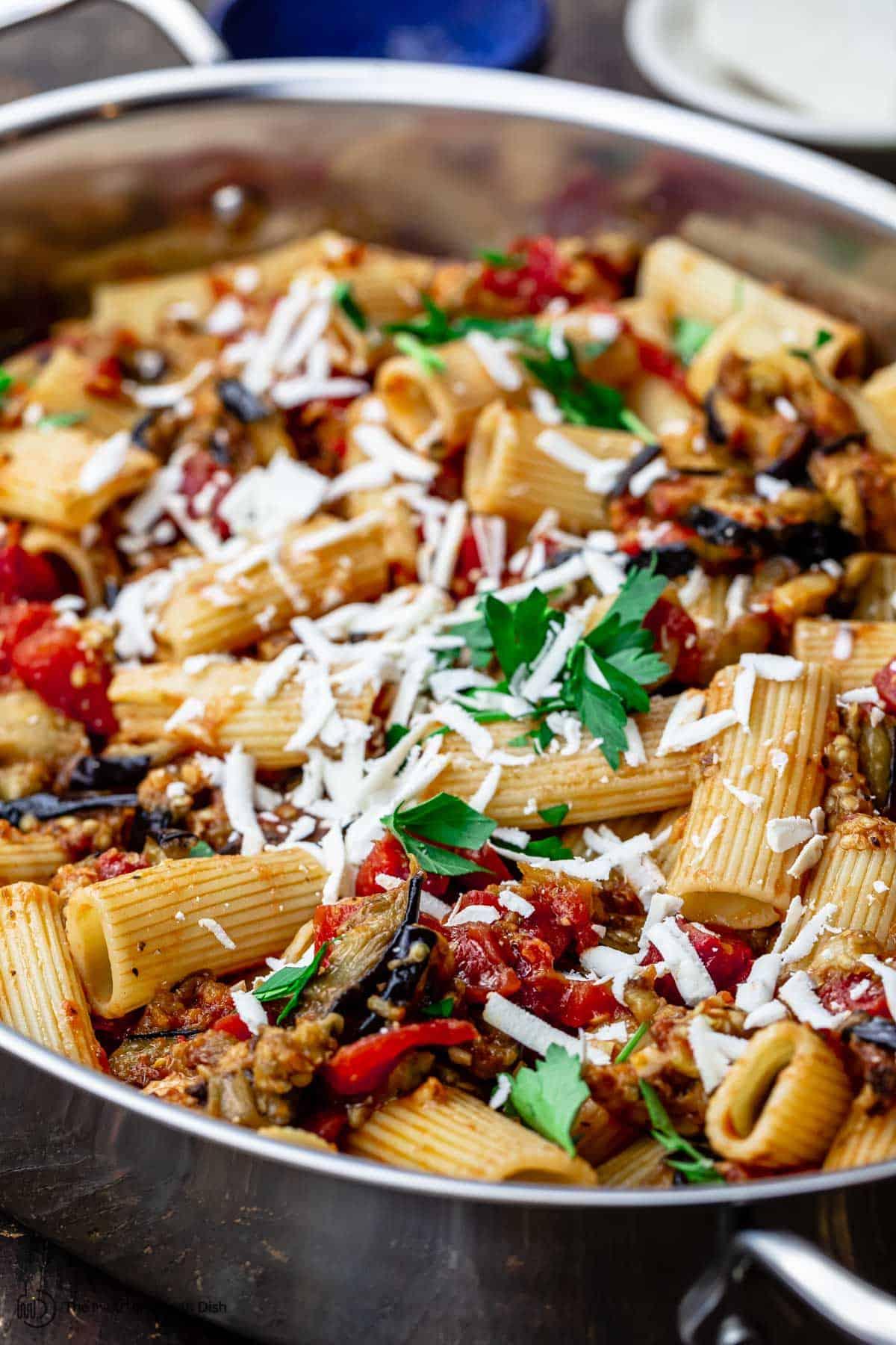 pasta alla norma (eggplant pasta) in a pan