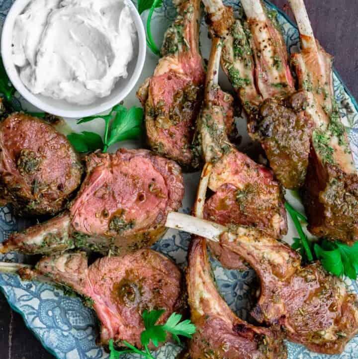 roast rack of lamb chops with tzatziki sauce