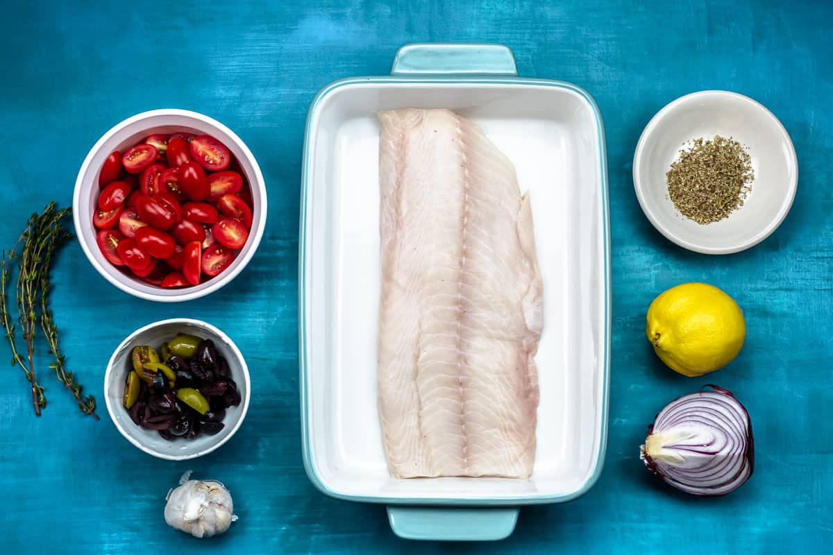 ingredients for Mediterranean baked white fish