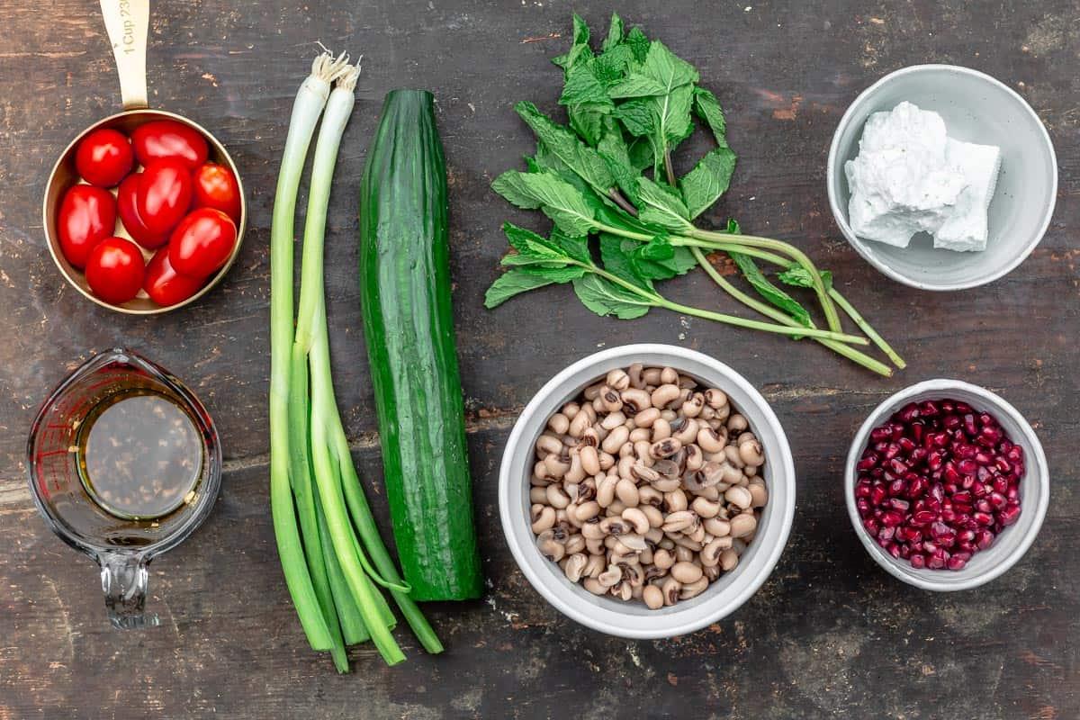 ingredients for black eyed pea salad
