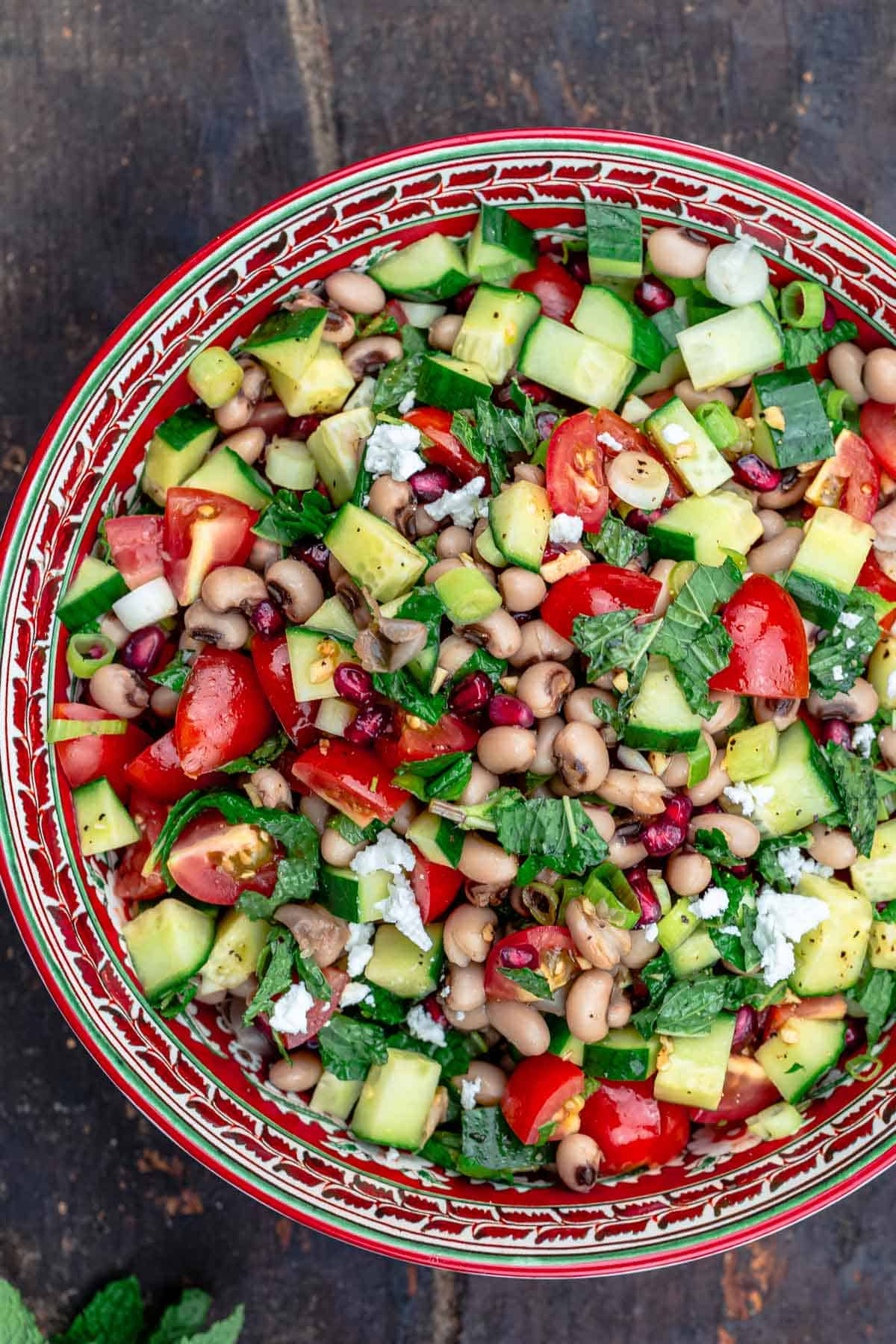 Mediterranean black eyed pea salad