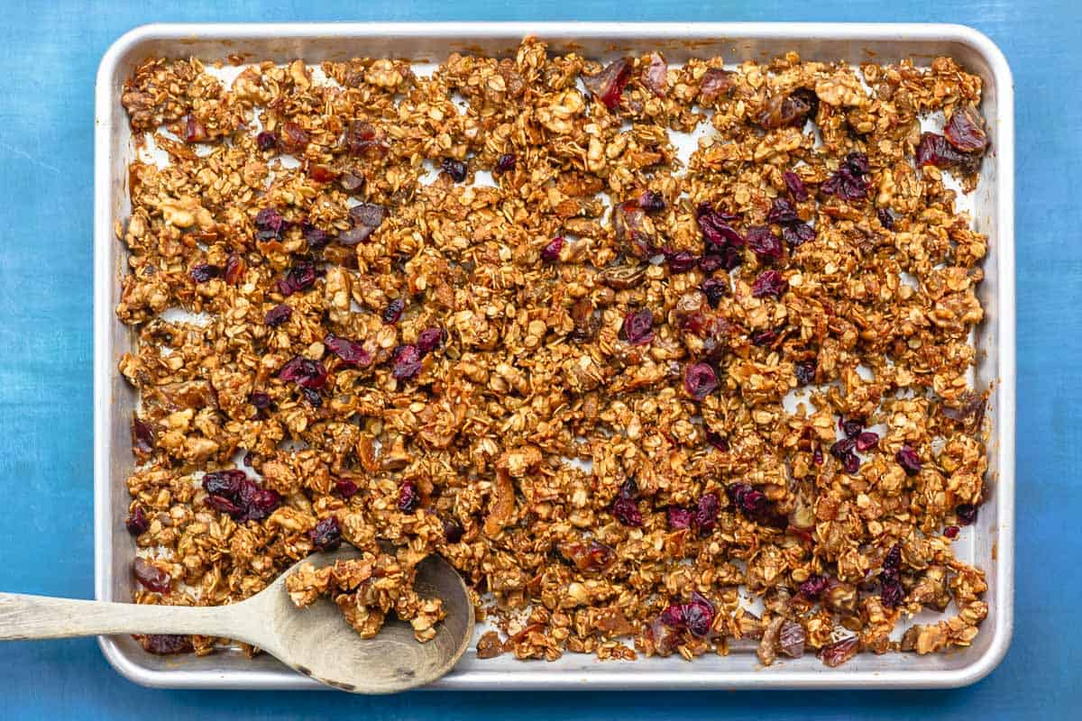 baked granola with dried fruit added