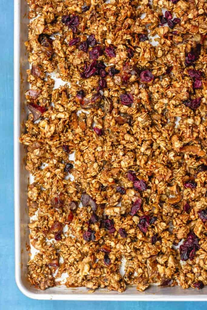 homemade granola with olive oil, tahini, nuts and dried fruit