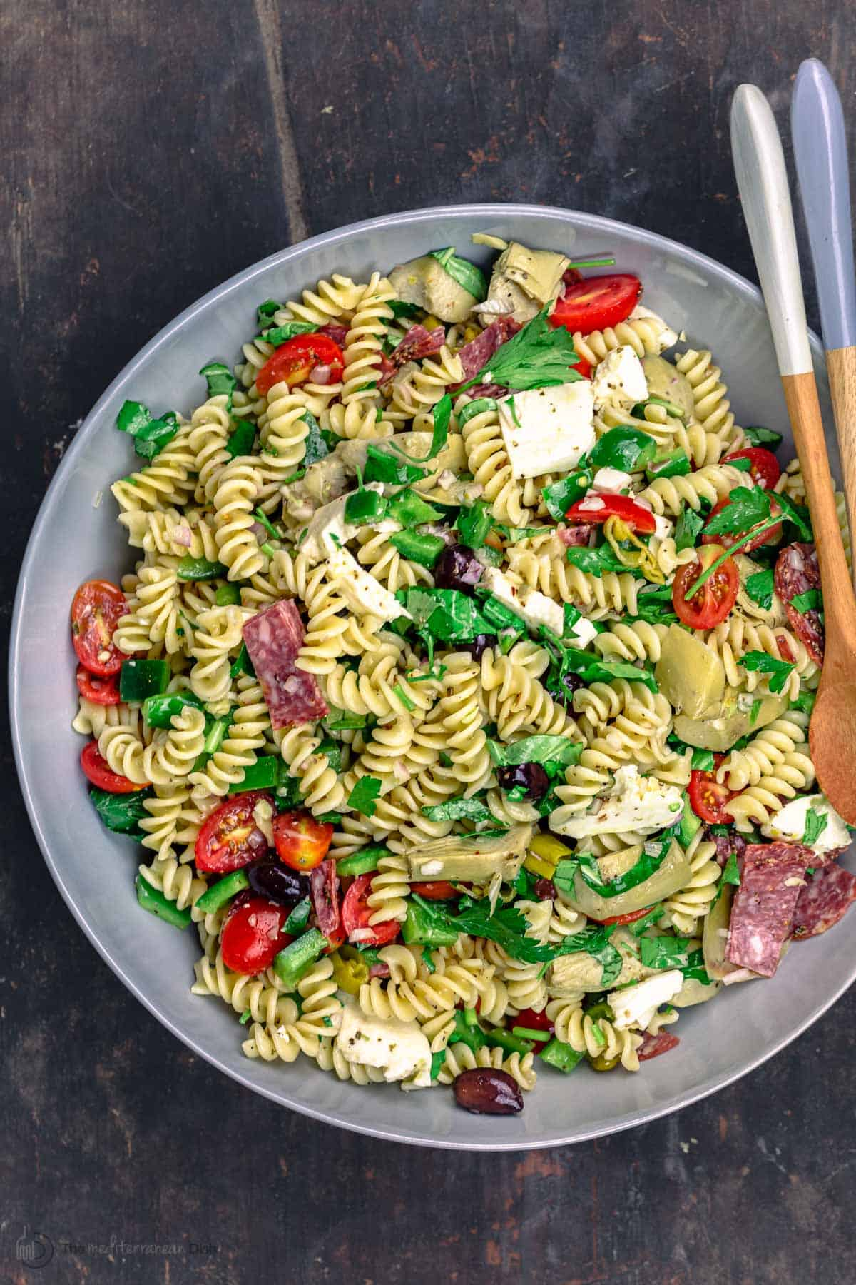 Italian pasta salad in a serving bowl