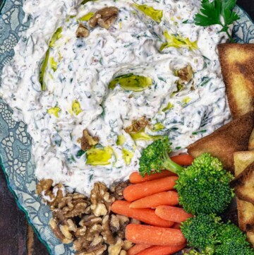 spinach Greek yogurt dip served with vegetables and pita chips