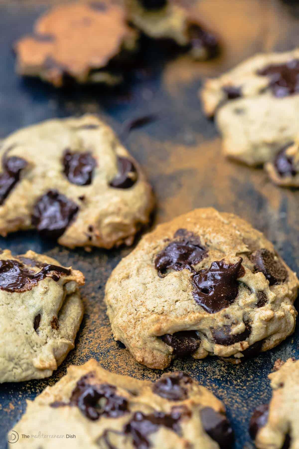 Tahini chocolate chip cookies dusted with cinnamon