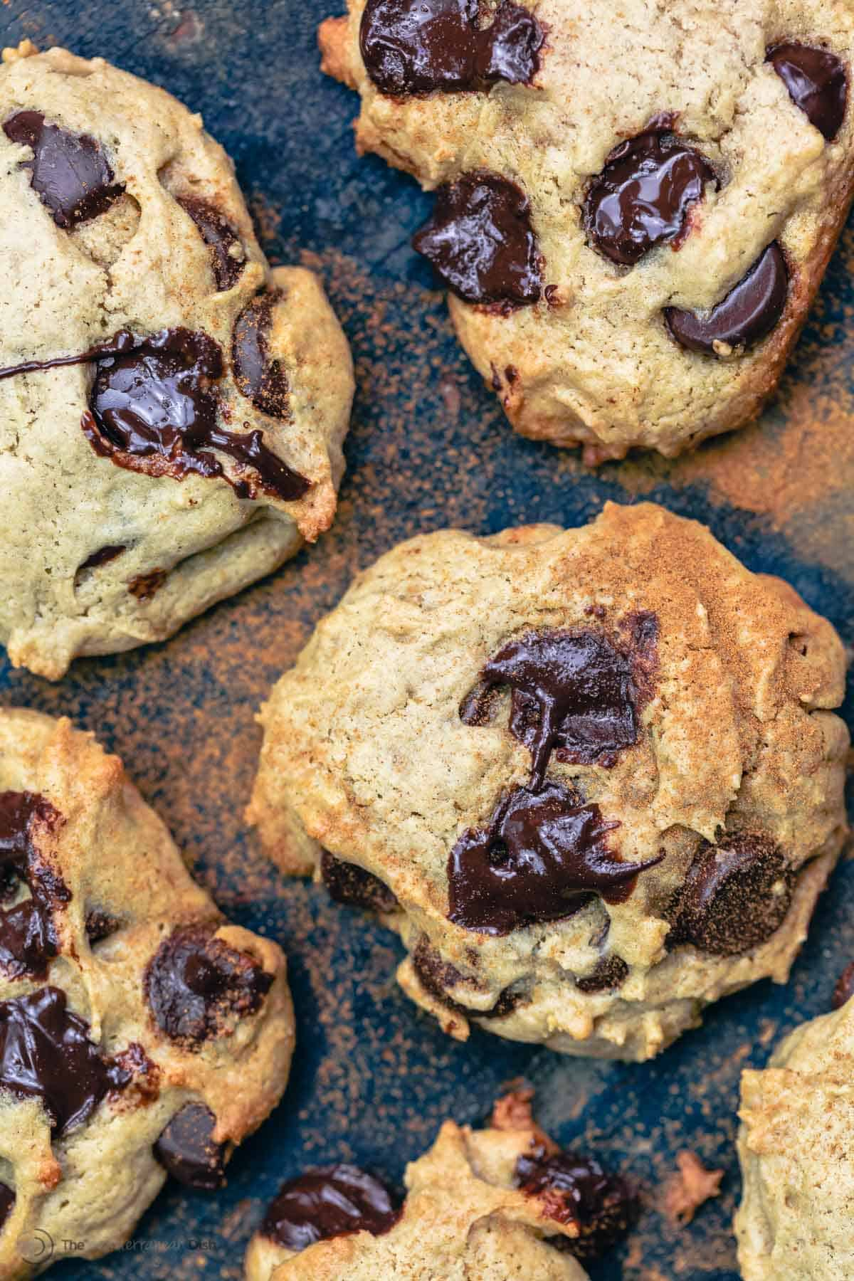 Tahini cookies with melted chocolate chips