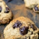 pin image 3 chocolate chip cookies with tahini