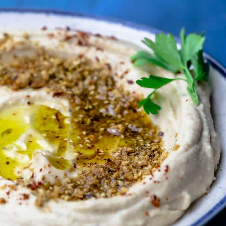 White bean hummus served in a plate