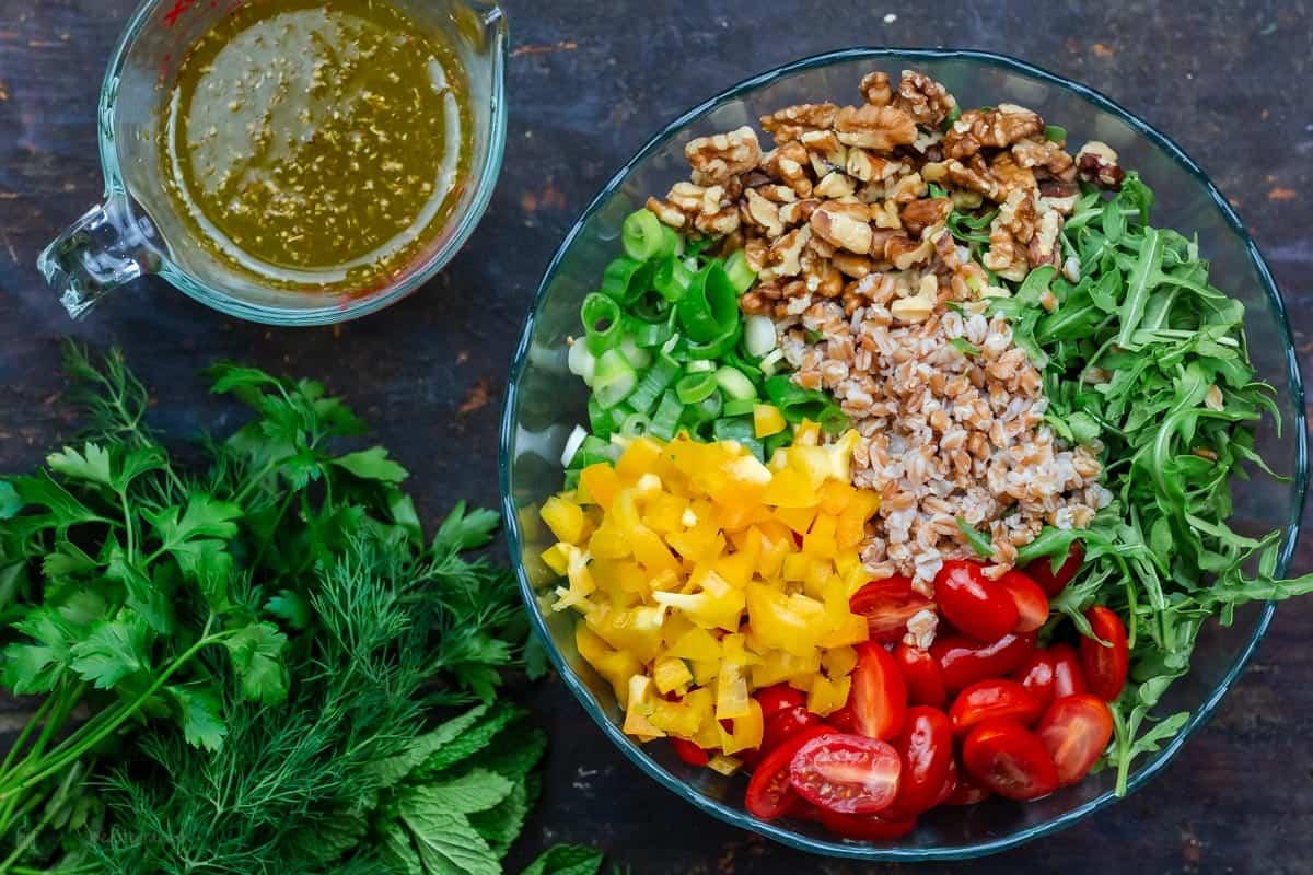 Ingredients for farro salad recipe