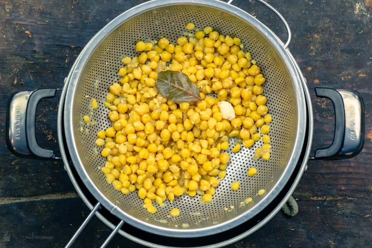 chickpeas draining in a collander