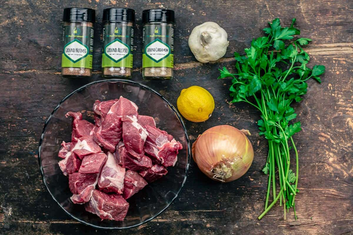 Ingredients for lamb kabob recipe