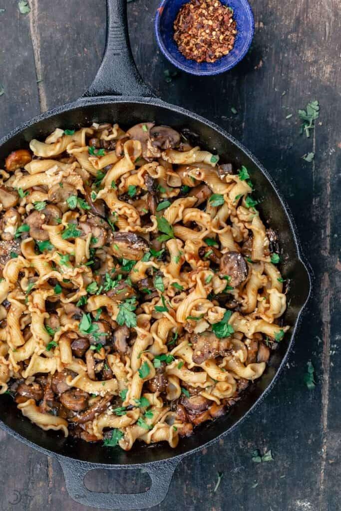 Mushroom pasta in skillet