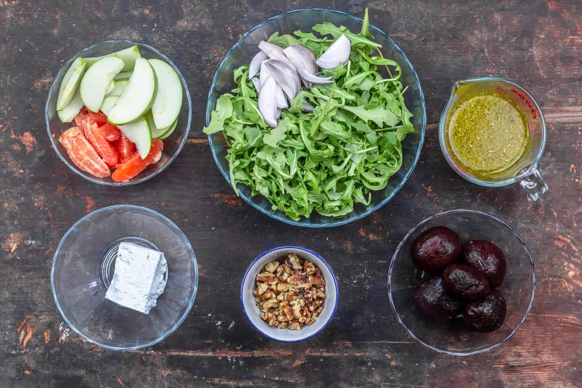 Ingredients for orange beet salad recipe