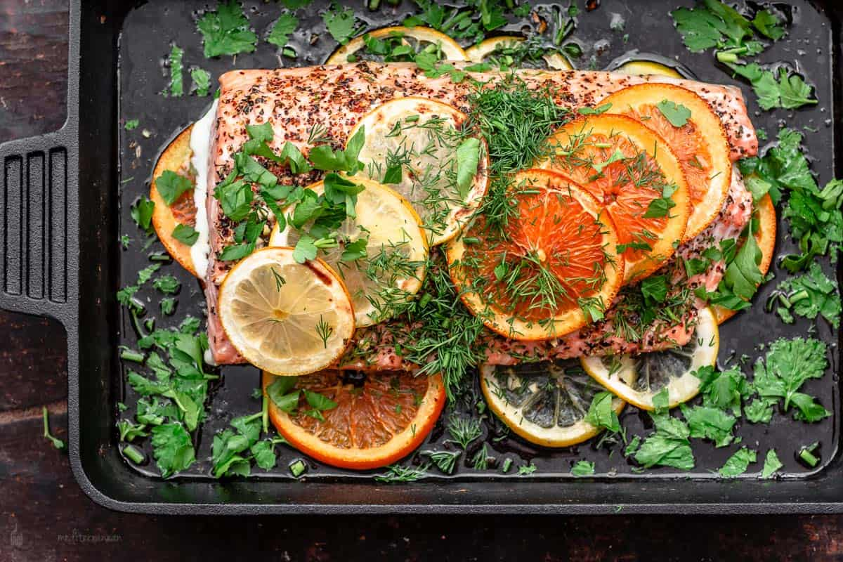 Salmon baked in cast iron skillet