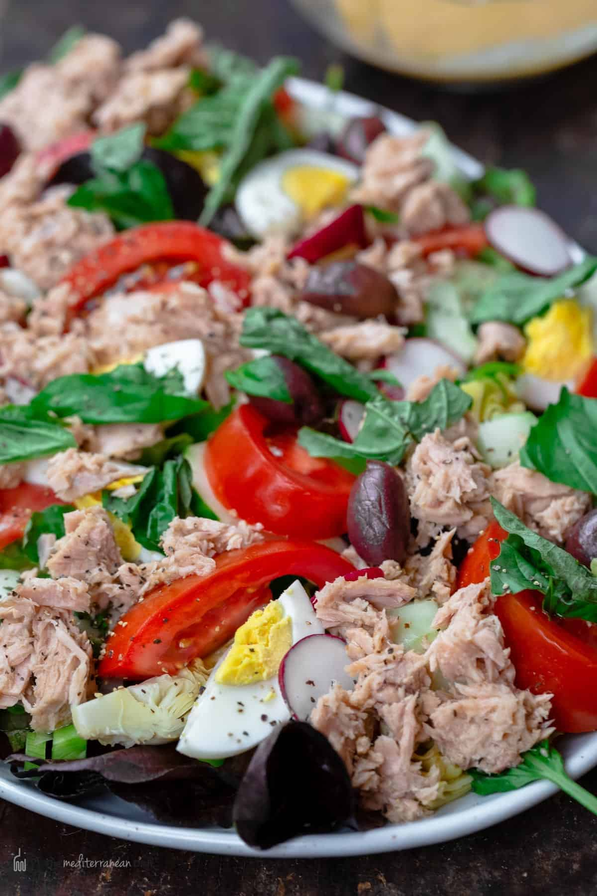 Close-up photo of tuna nicoise salad on a platter with a side bowl for dressing