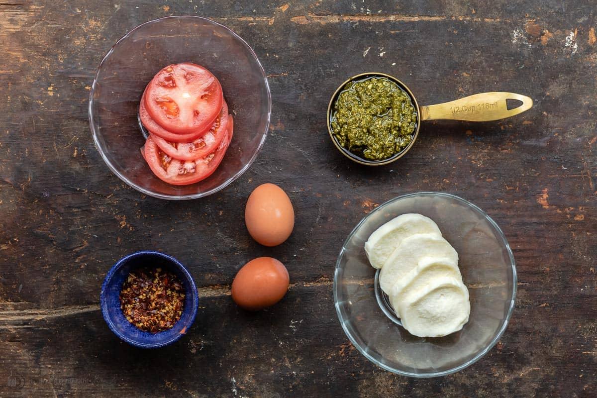 Ingredients for pesto egg recipe