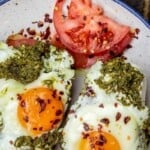 pinnable image 3 for eggs cooked in pesto
