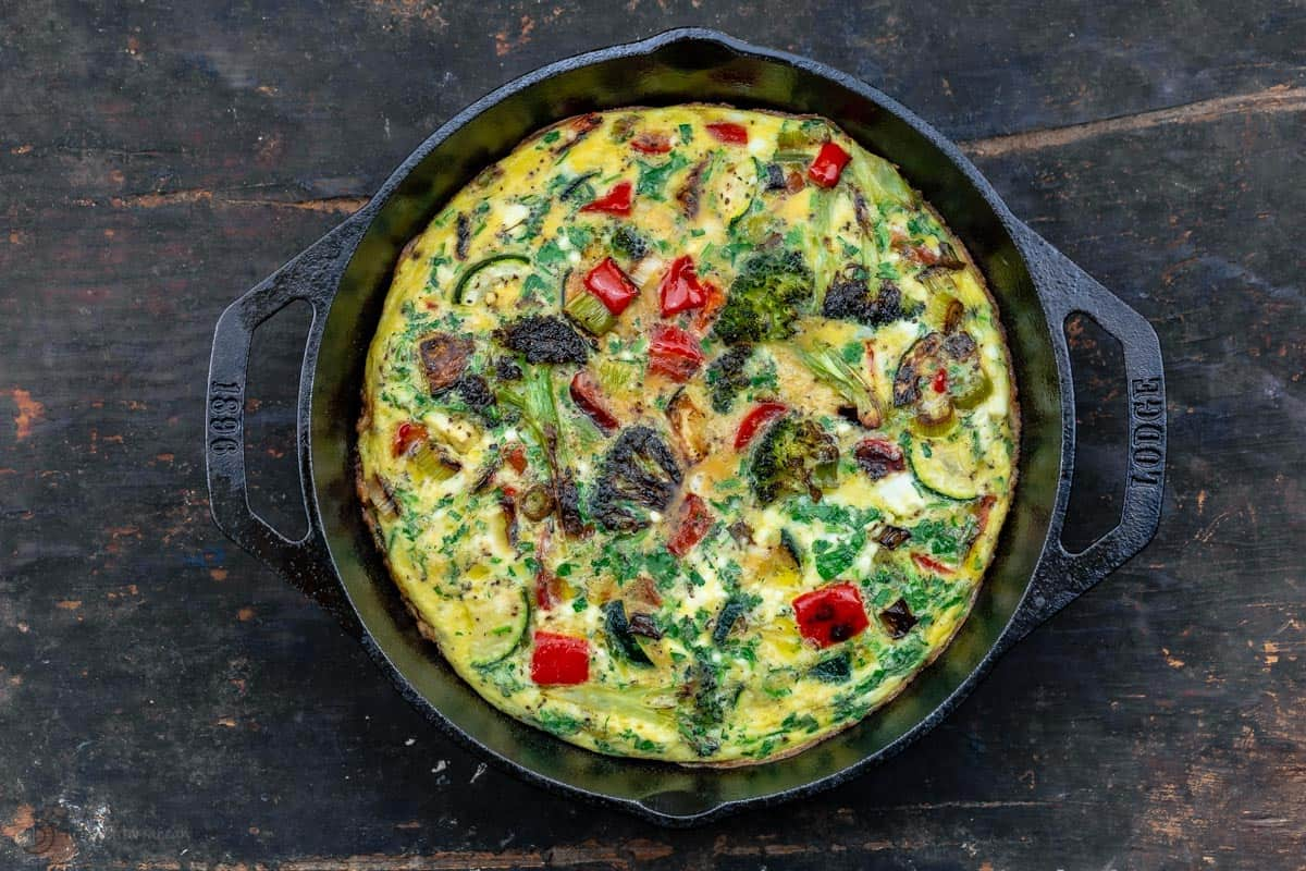 A Homemade Vegetable Frittata in a Lodge Skillet with Two Handles
