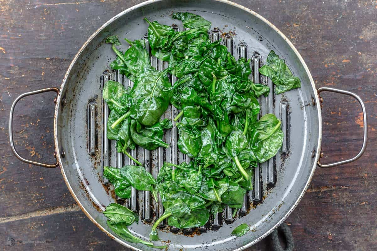 sauteed spinach in the grill pan