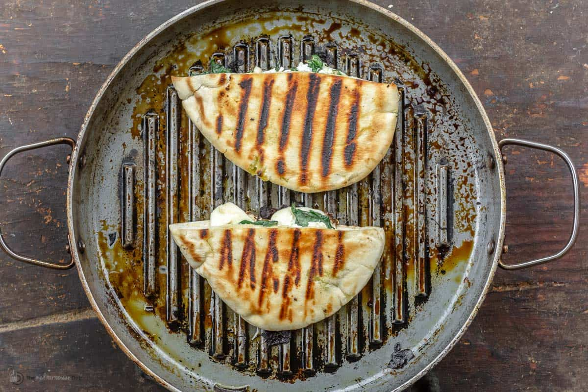 Grilled pita pockets in the grill pan