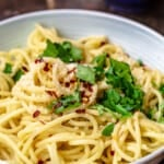 A bowl of olive oil and garlic pasta topped with parsley, red pepper flakes and parmesan