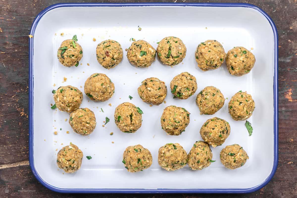 Vegan meatballs on a baking sheet