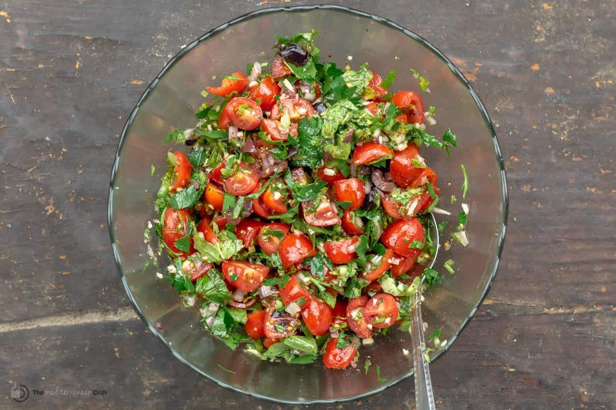Mediterranean-style salsa with tomatoes and fresh herbs