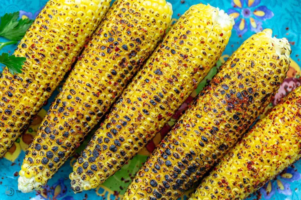 A close-up of grilled corn on the cob