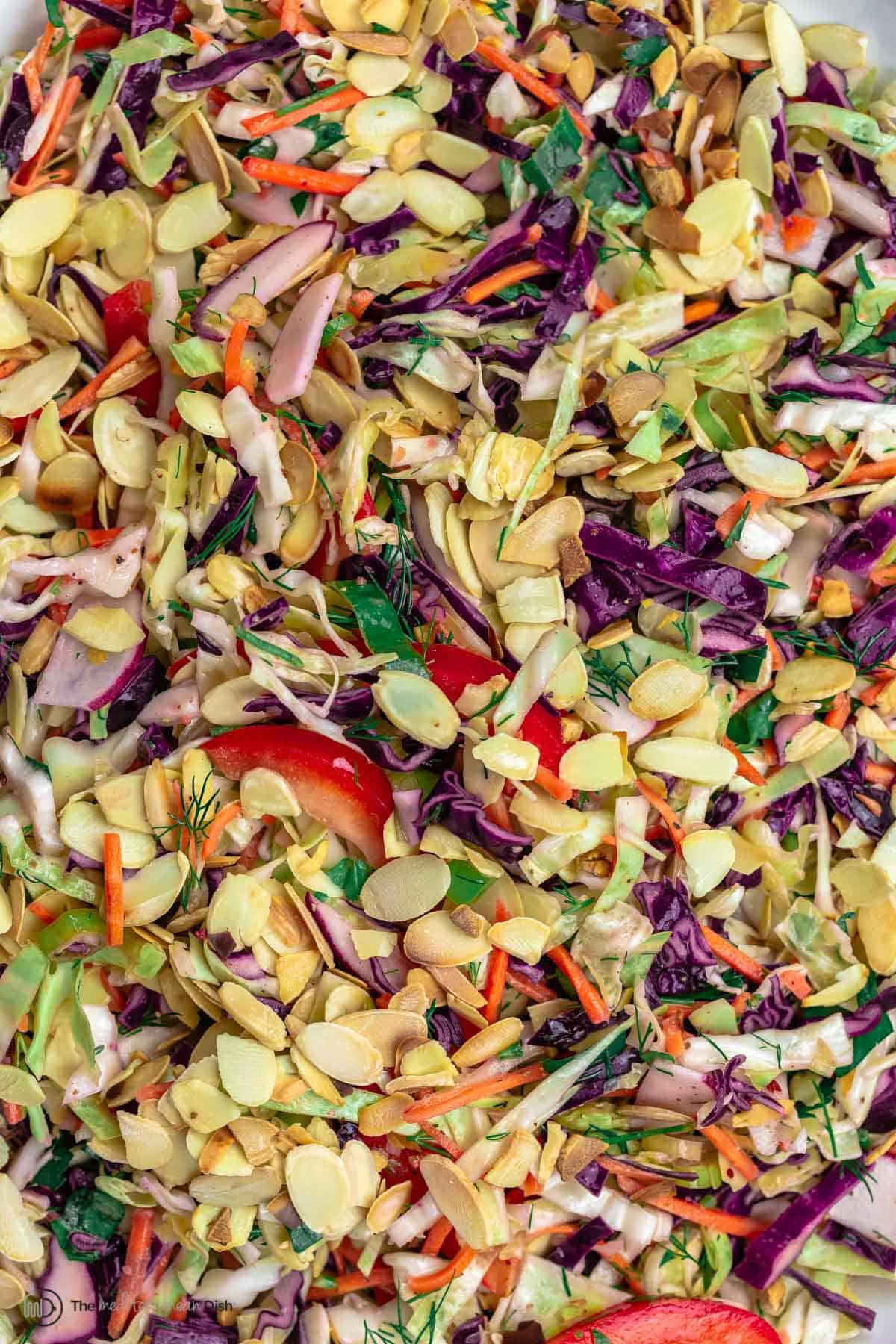 Close-up of a Mediterranean Cabbage Salad with sliced almonds, cabbage, red peppers, radishes and carrots