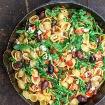 Orecchiette pasta in a skillet