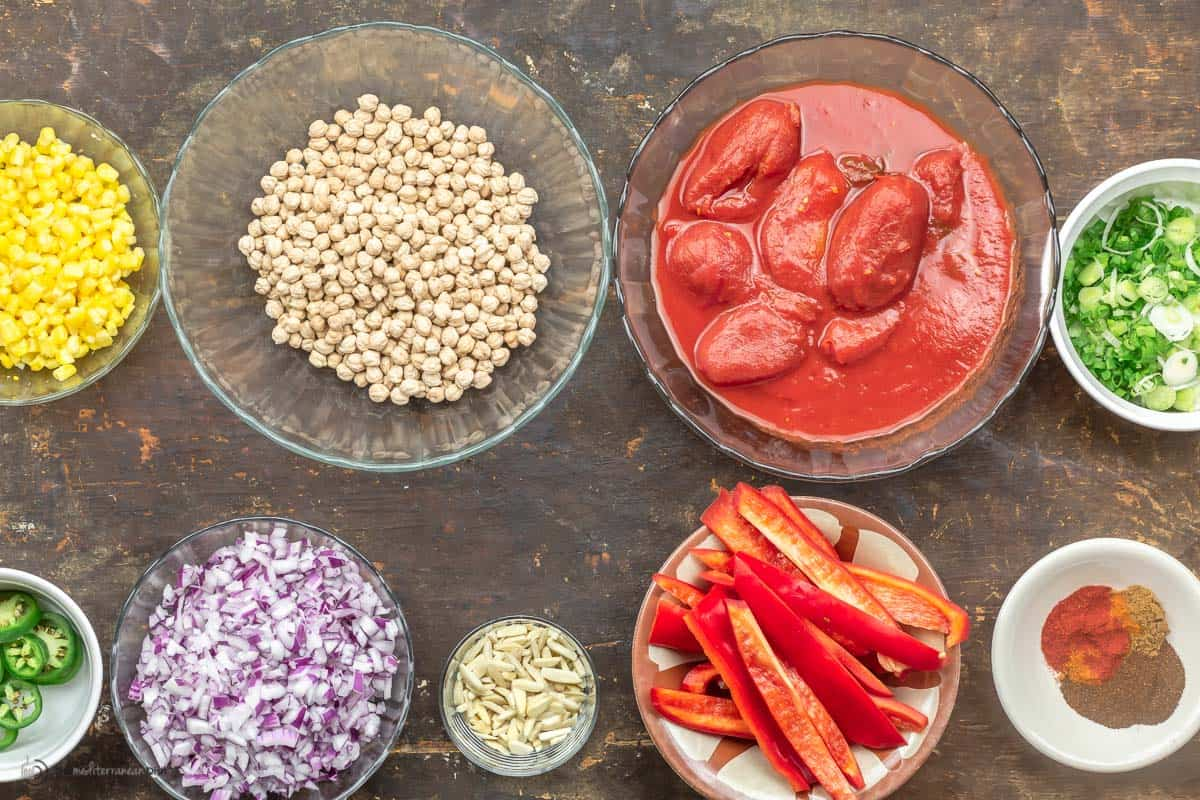 Chickpea chili ingredients cut and measured