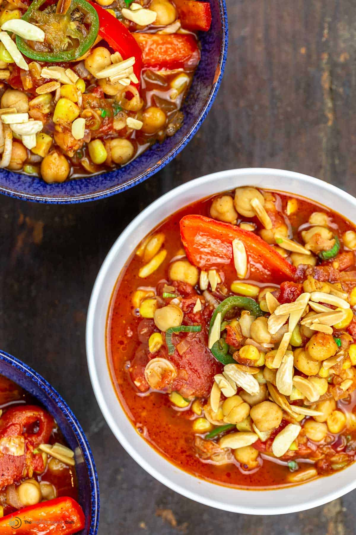 Two big dishes of vegan chickpea chili