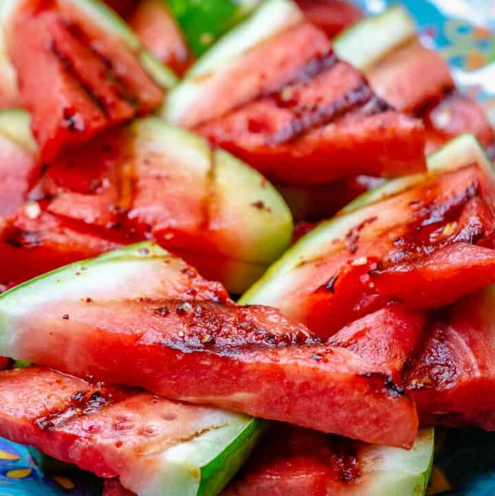 Close-up of grilled watermelon slices