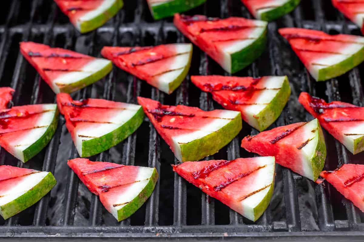 Triangles of watermelon on the grill