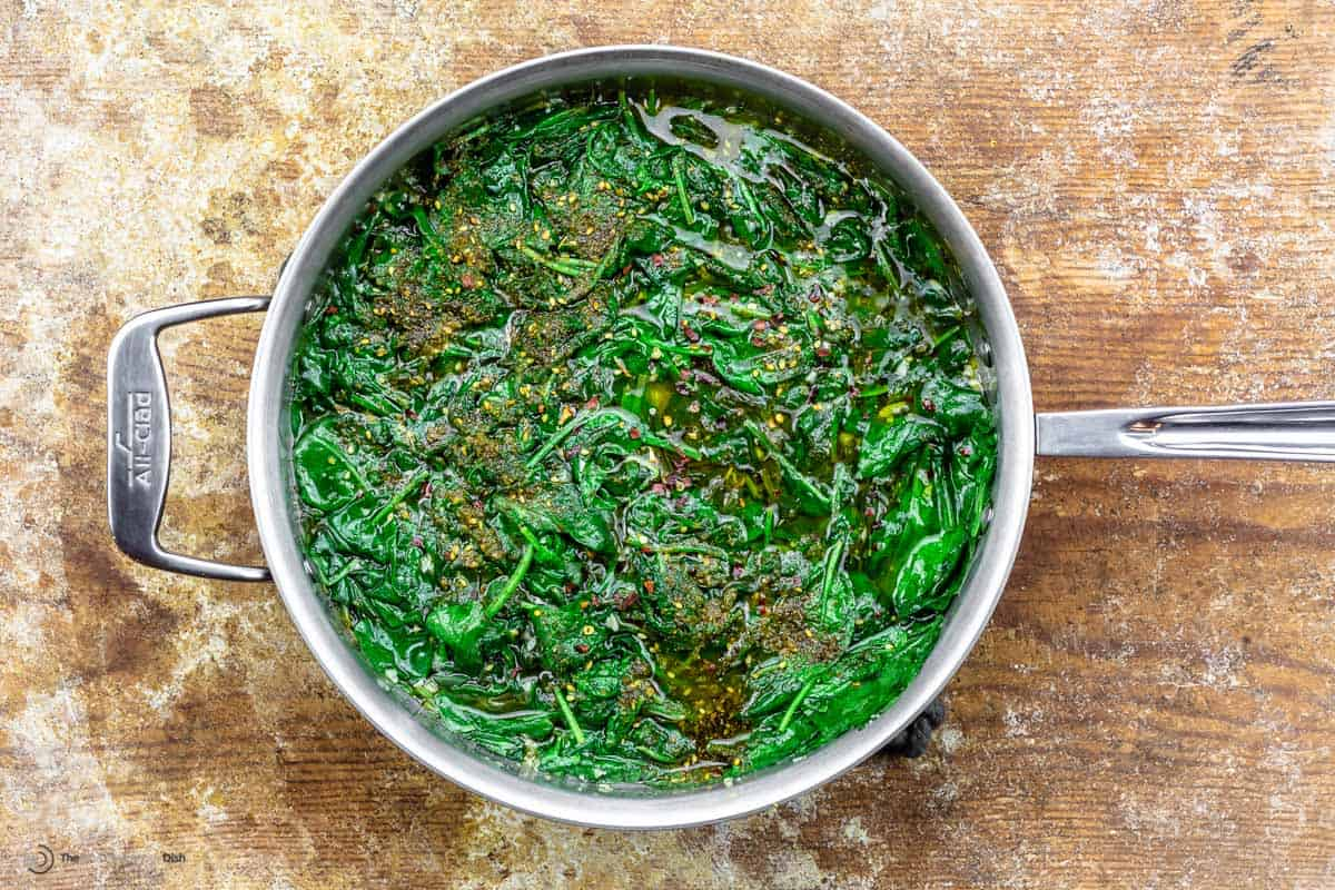 Wilted spinach in a skillet