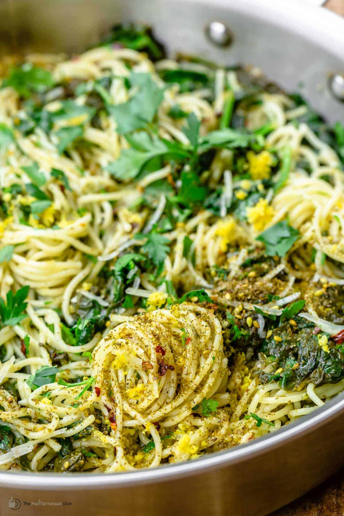 Close-up of spinach pasta