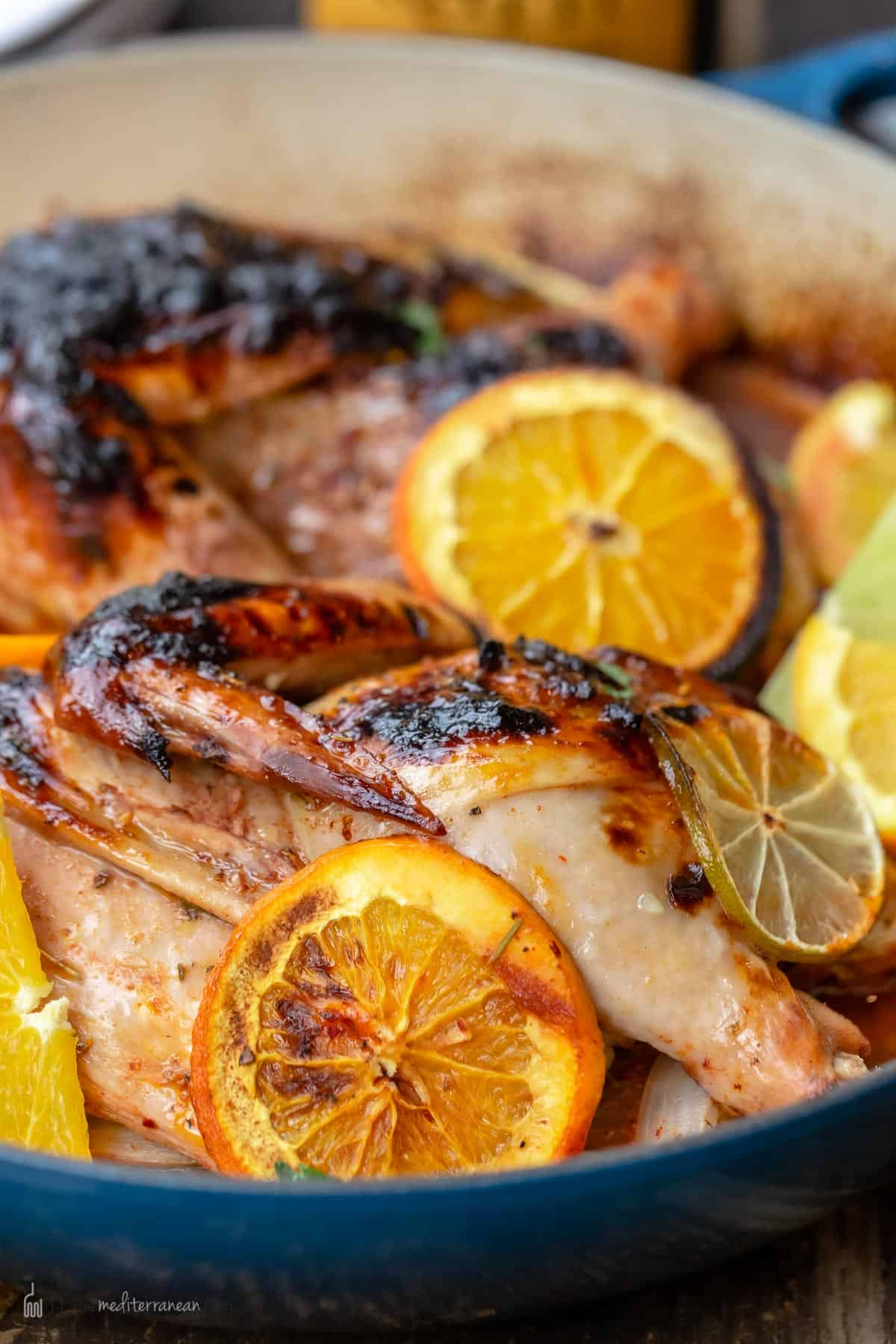 Side view of roasted rosemary chicken with orange and lime slices