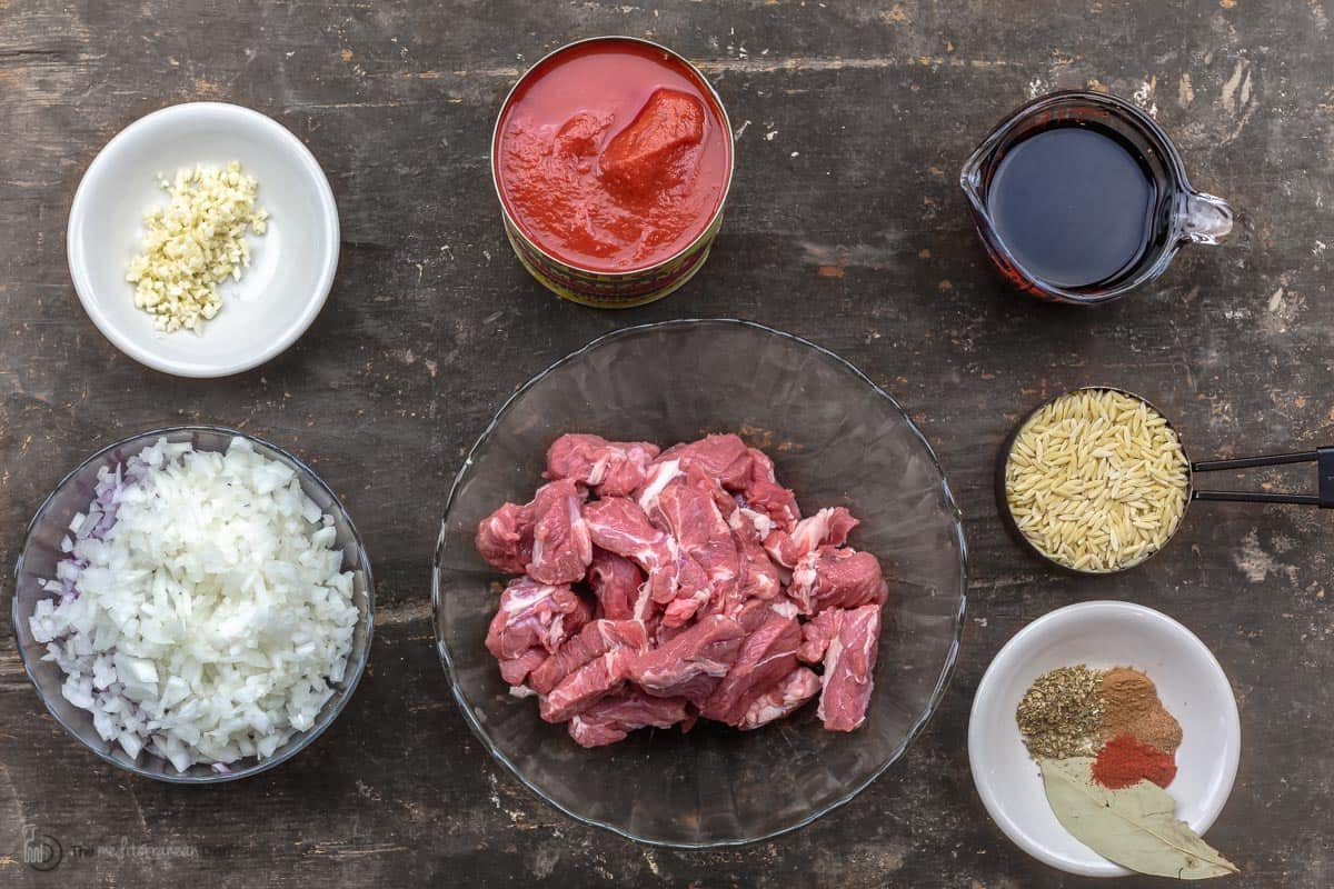 Overhead view of youvetsi ingredients