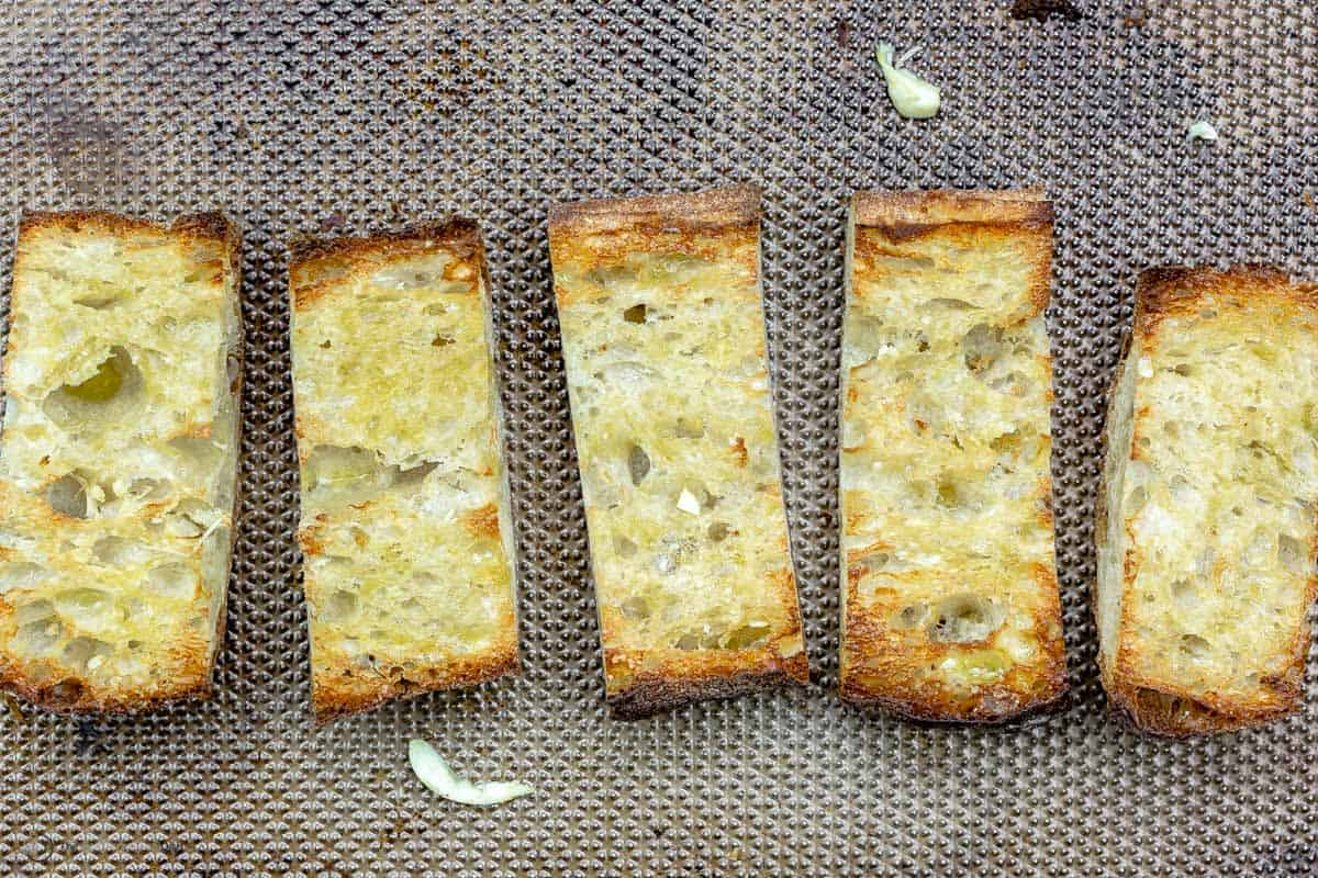Slices of toasted ciabatta bread