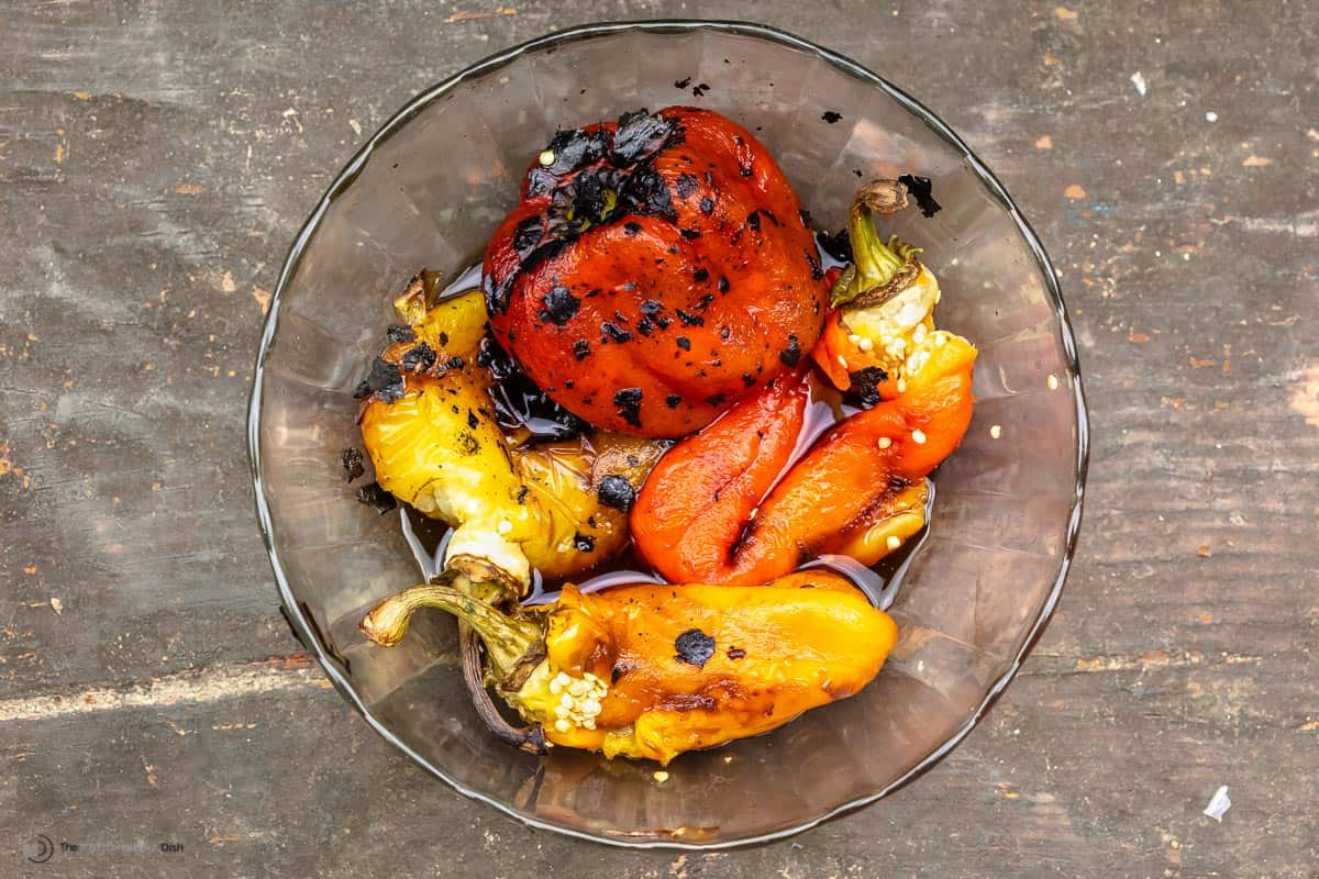 Roasted peppers in a glass bowl