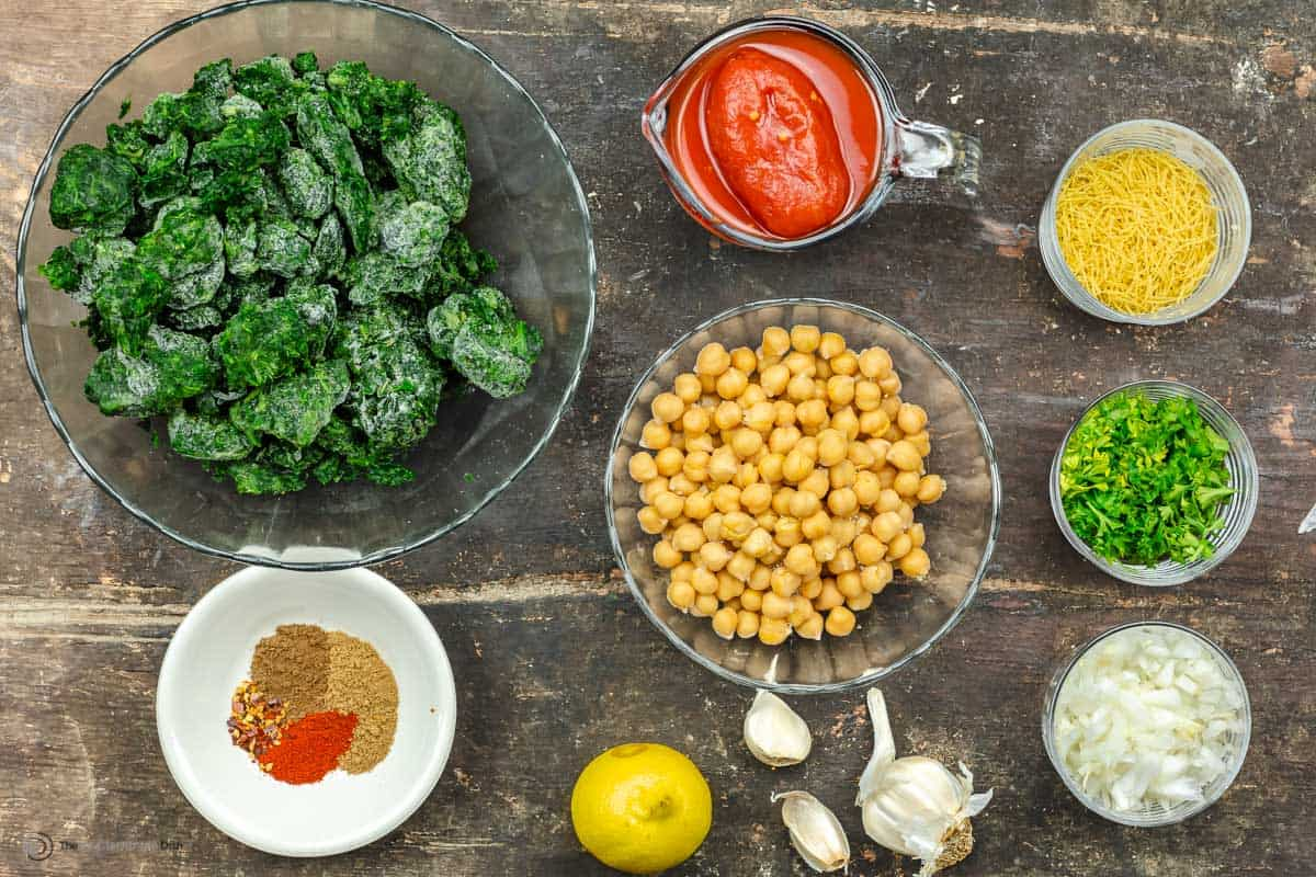 Overhead view of spinach stew ingredients