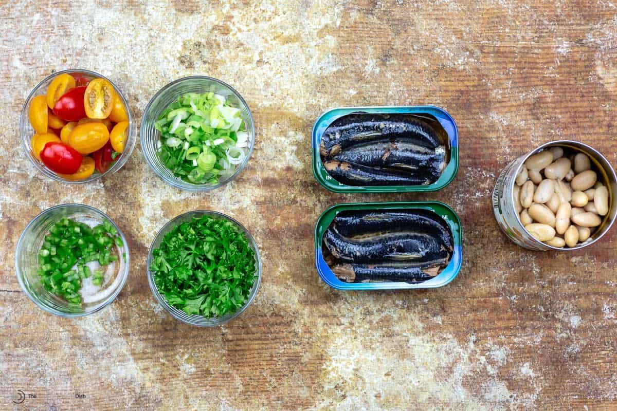 Overhead view of ingredients for sardine salad