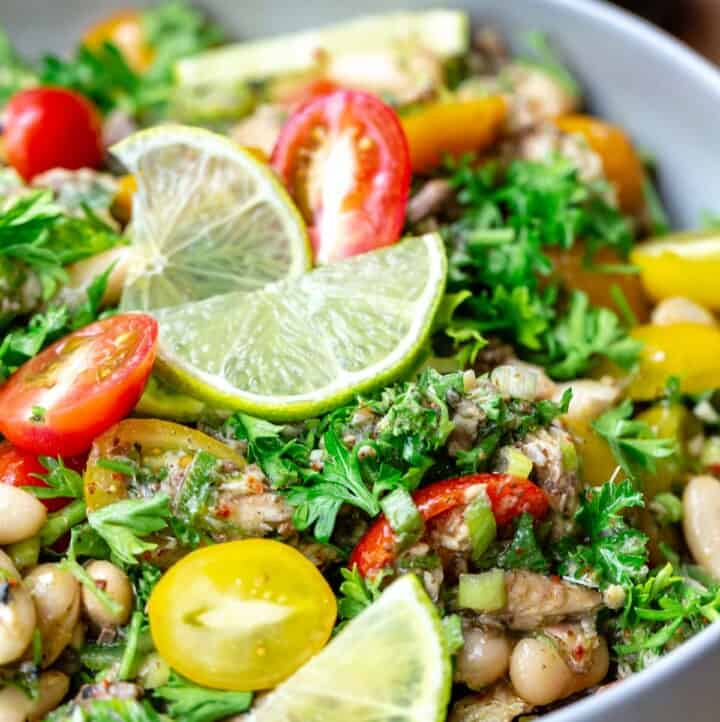 Mediterranean white bean and sardine salad in a white bowl